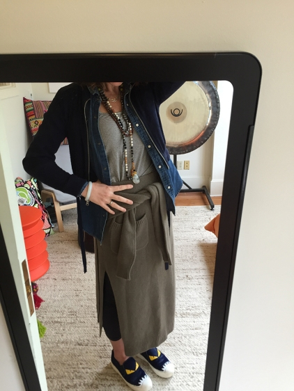 Denim Shirt, JCrew. Cashmere skirt Joseph. Sneakers Fendi.
