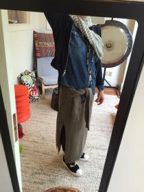 Pluto Gong. Cashmere Aquarius Stripe scarf, Cardigan.